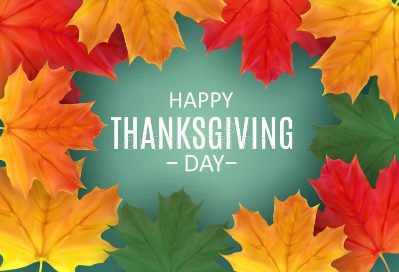 Fondo feliz del día de la acción de gracias con Autumn Natural Leaves brillante Ilustración del vector ilustración del vector