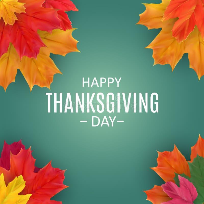 Fondo feliz del día de la acción de gracias con Autumn Natural Leaves brillante Ilustración del vector libre illustration