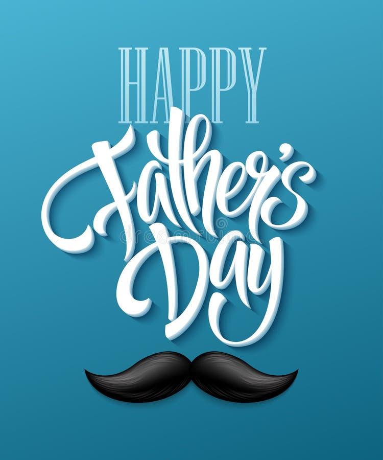 Fondo feliz del día de padres con las letras y el bigote del saludo Ilustración del vector stock de ilustración