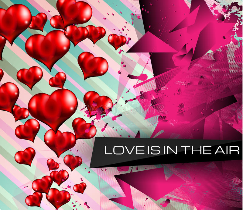 Fondo feliz del día de tarjeta del día de San Valentín con los corazones preciosos ilustración del vector