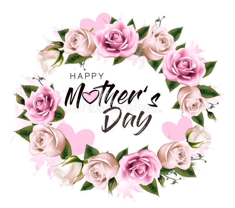 Fondo feliz del día del ` s de la madre con las flores y los corazones de la belleza stock de ilustración