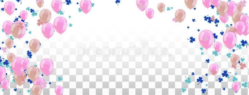 Fondo feliz del marco del día de fiesta con el globo, los regalos, el confeti, el casquillo del carnaval y la flámula coloridos E libre illustration