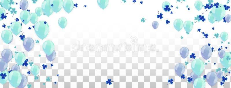 Fondo feliz del marco del día de fiesta con el globo, los regalos, el confeti, el casquillo del carnaval y la flámula coloridos E ilustración del vector
