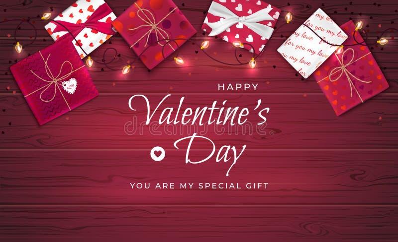 Fondo feliz del saludo del día del ` s de la tarjeta del día de San Valentín Opinión superior sobre las cajas de regalo en divers stock de ilustración