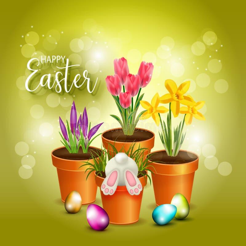 Fondo feliz del verde de Pascua con las flores libre illustration