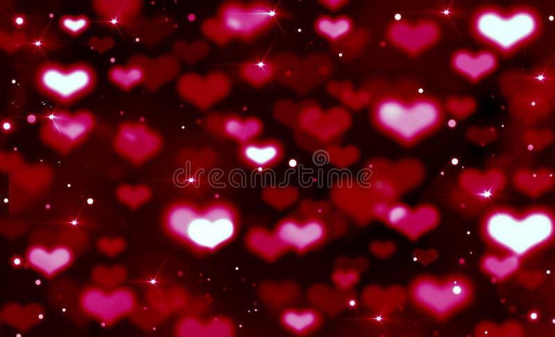Fondo festivo brillante de los corazones rojos, blancos y rosados, fondo negro, rojo, borroso del bokeh, porciones de corazones,  libre illustration