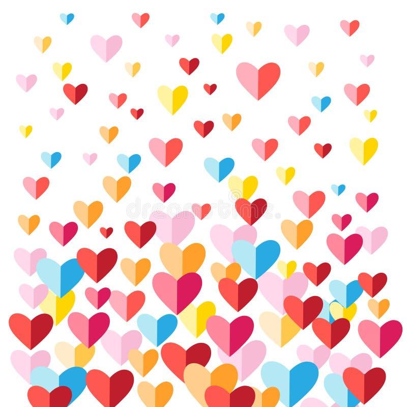 Fondo festivo con los corazones multicolores stock de ilustración