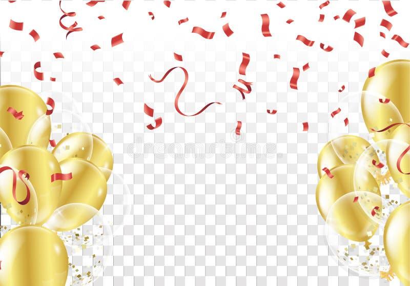 Fondo festivo con los globos y el confeti del oro stock de ilustración