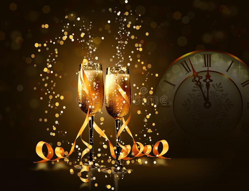 Fondo festivo con los vidrios del champán stock de ilustración