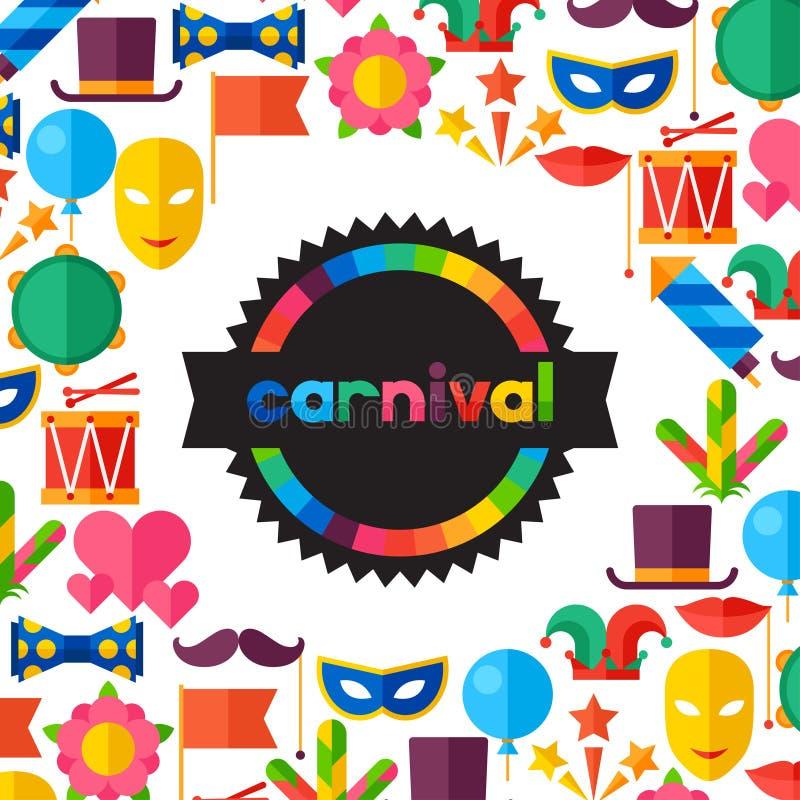 Fondo festivo de la celebración con el carnaval plano ilustración del vector