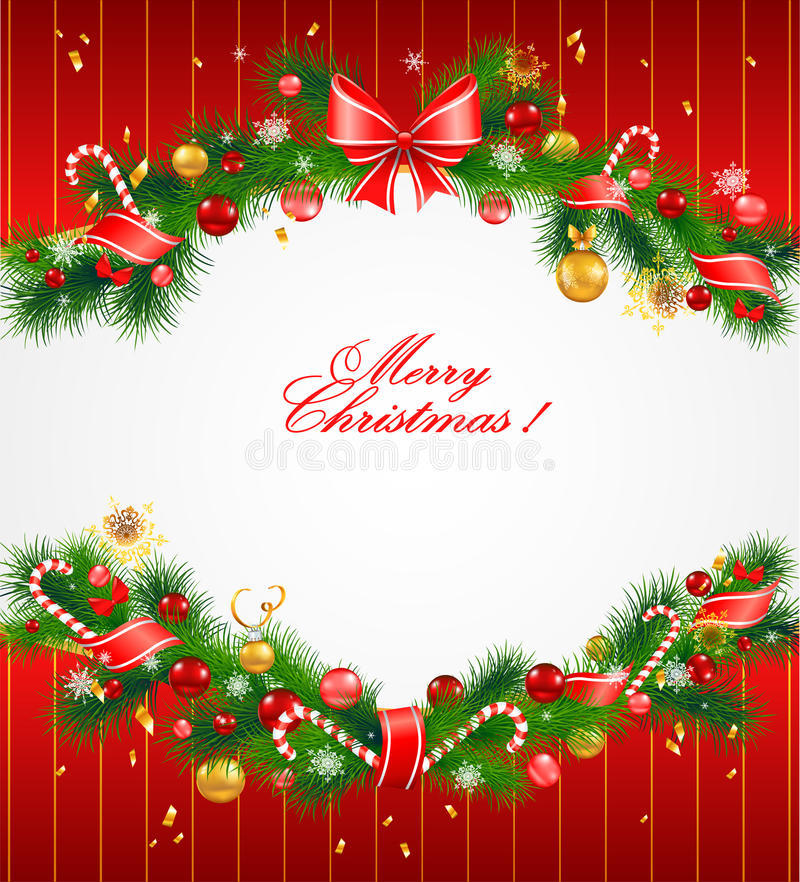 Fondo festivo de la Navidad con el árbol de abeto ilustración del vector