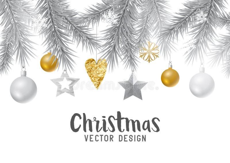 Fondo festivo de la Navidad del oro y de la plata libre illustration