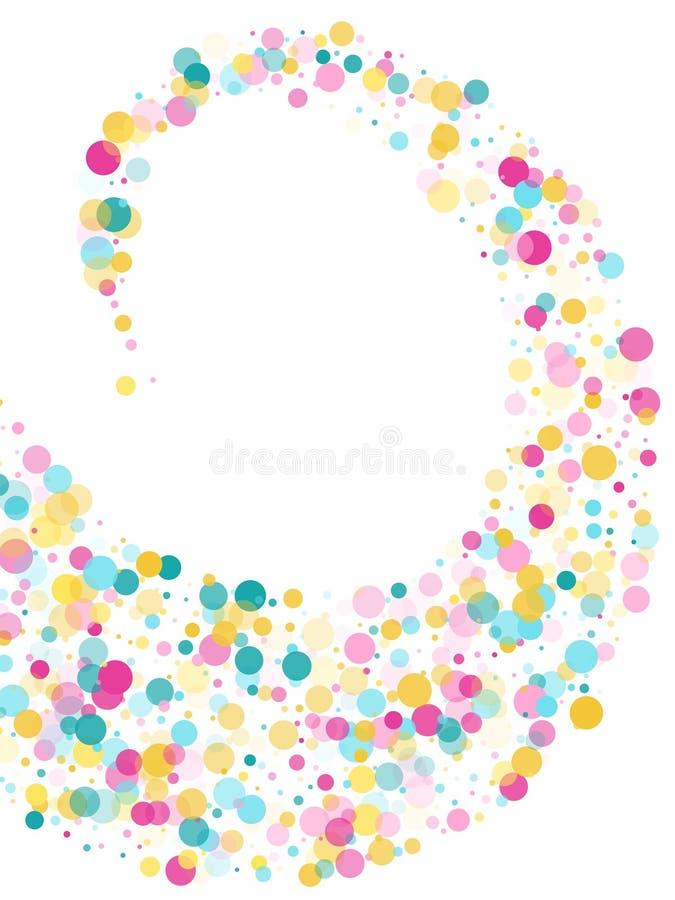 Fondo festivo dei coriandoli rotondi di Memphis in ciano blu, rosa e giallo Vettore puerile del modello royalty illustrazione gratis