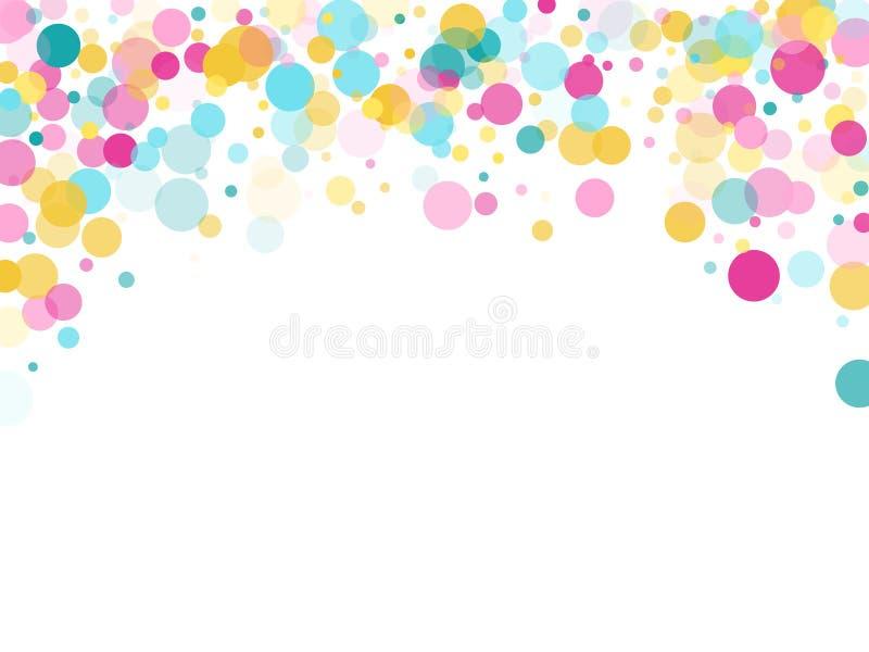 Fondo festivo dei coriandoli rotondi di Memphis in ciano blu, rosa e giallo Vettore puerile del modello illustrazione di stock