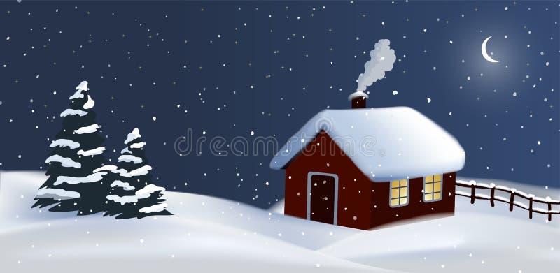 Fondo festivo del campo del invierno de la noche del vector con una casa de la cabaña, un humo y árboles de navidad rojos, Feliz  stock de ilustración