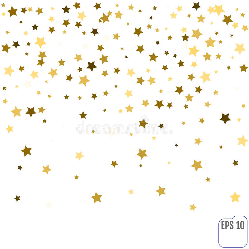 Fondo festivo del día de fiesta de la lluvia del confeti de la estrella del oro Golde del vector stock de ilustración