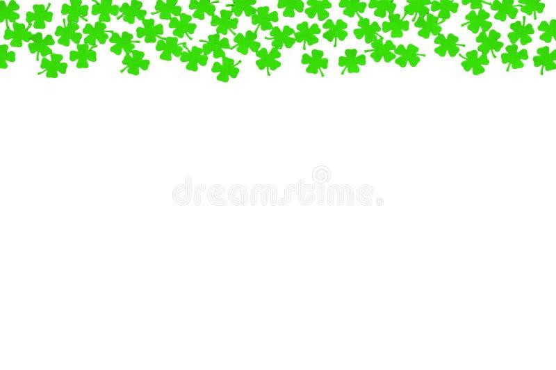 Fondo festivo del día del St Patricks - frontera superior de los quatrefoils verdes aislados en blanco fotografía de archivo libre de regalías