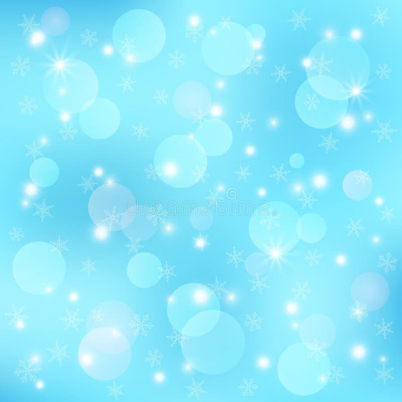 Fondo festivo del invierno del vector Plantilla con el bokeh, los copos de nieve y la llamarada de la lente para tarjeta de felic ilustración del vector