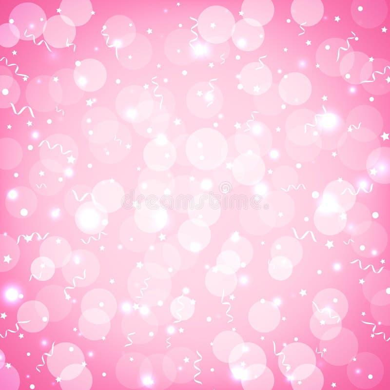 Fondo festivo del rosa del partido con confeti, bokeh y la serpentina Fondo en colores pastel rosado suave del día de fiesta con  libre illustration