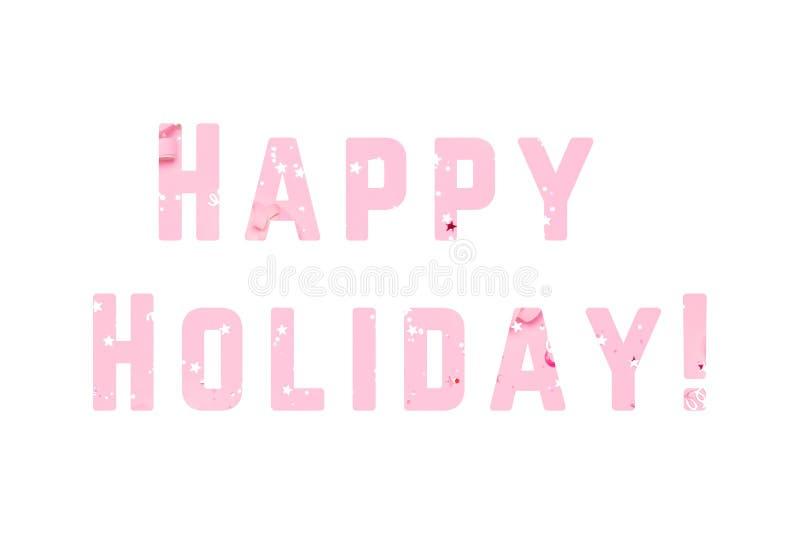 Fondo festivo rosado del confeti Texto feliz del día de fiesta stock de ilustración