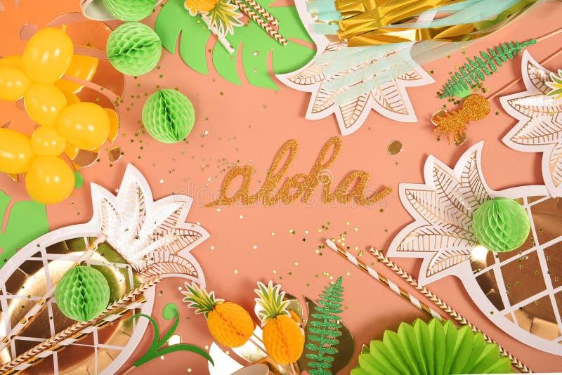 Fondo festivo Tema tropical Verano hawaii Partido, cumplea?os Visi?n desde arriba fotografía de archivo