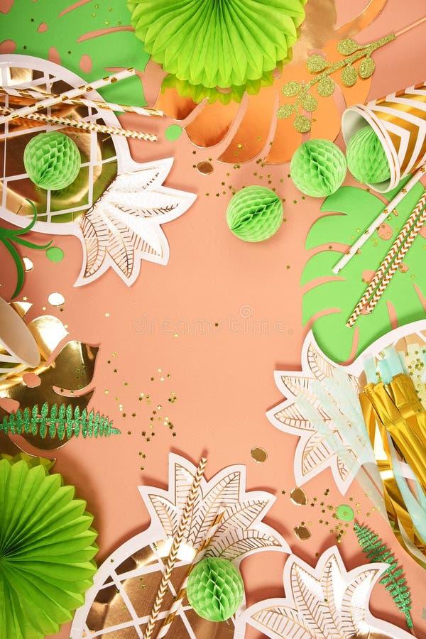 Fondo festivo Tema tropical Verano hawaii Partido, cumplea?os Visi?n desde arriba foto de archivo