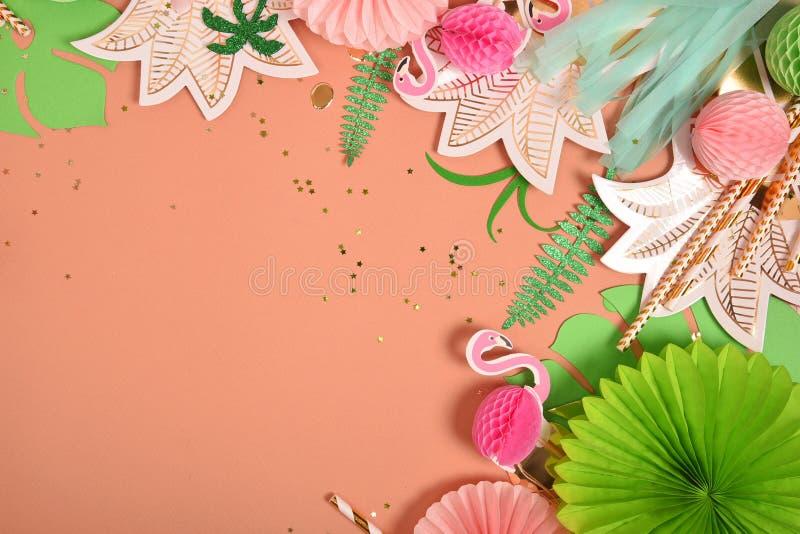 Fondo festivo Tema tropical Verano hawaii Partido, cumplea?os Visi?n desde arriba imagen de archivo
