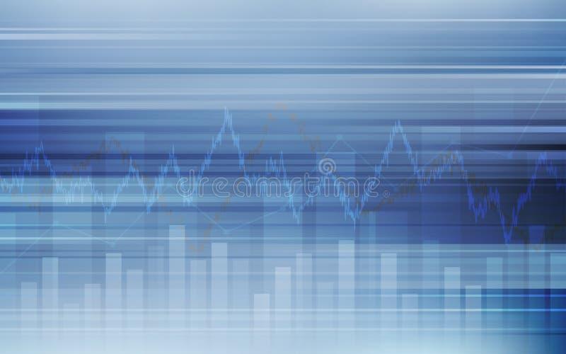 Fondo financiero abstracto con la línea gráfico y carta de barra en mercado de acción en color del azul de la pendiente libre illustration