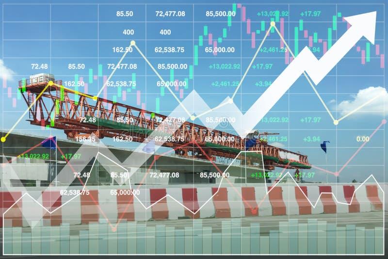 Fondo financiero de la presentación de la economía de la construcción pesada fotos de archivo libres de regalías