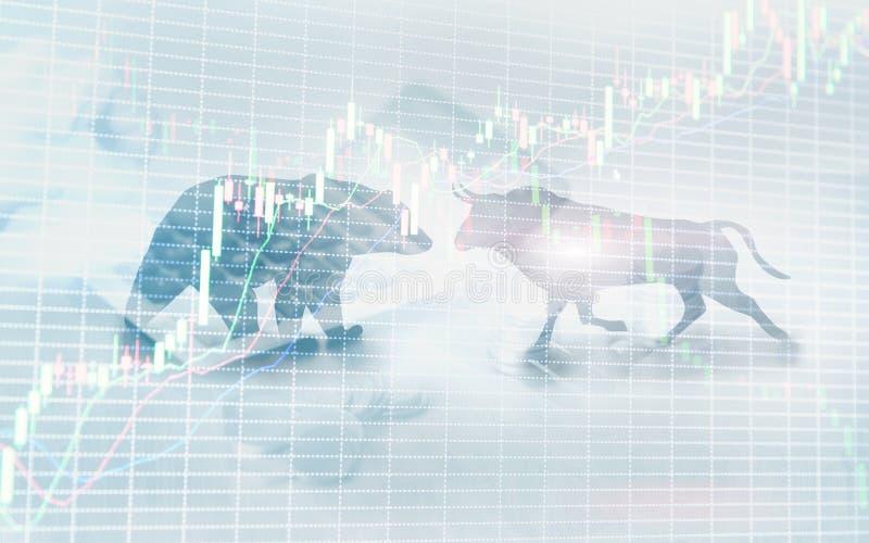 Fondo financiero y del negocio del extracto con la carta del gráfico de la acción de la vela Concepto de los comerciantes del con fotos de archivo libres de regalías
