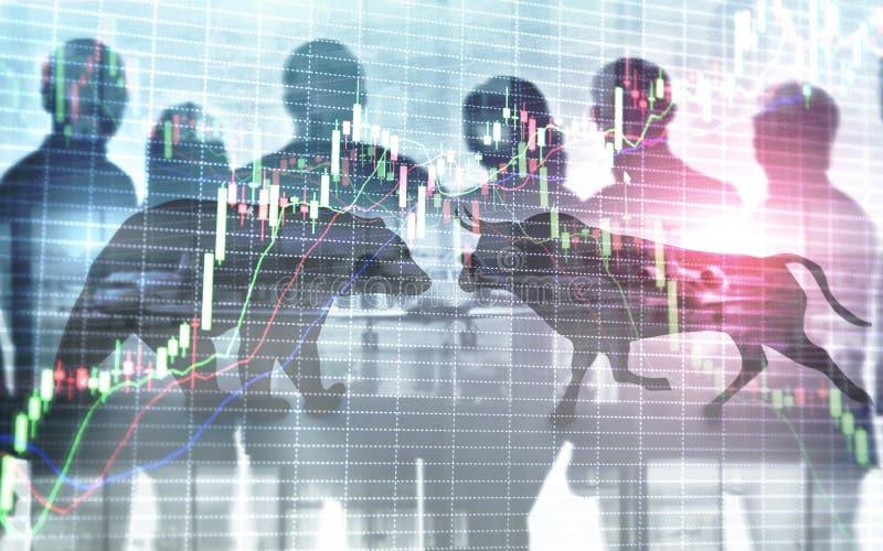 Fondo financiero y del negocio del extracto con la carta del gráfico de la acción de la vela Concepto de los comerciantes del con foto de archivo libre de regalías
