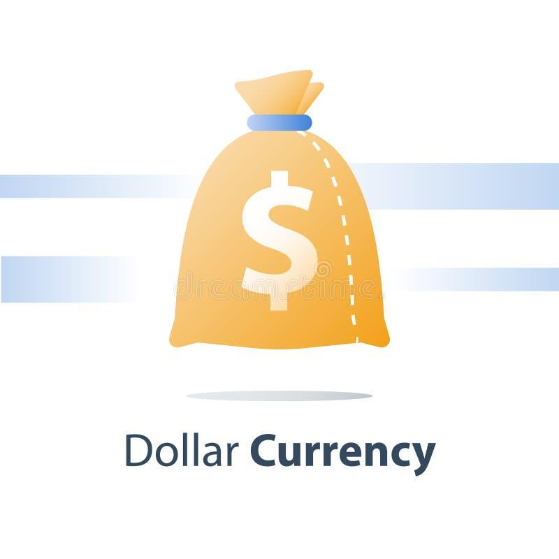 Fondo finanziario, sacco dei soldi, borsa di valuta del dollaro, prestito veloce, contanti facili royalty illustrazione gratis