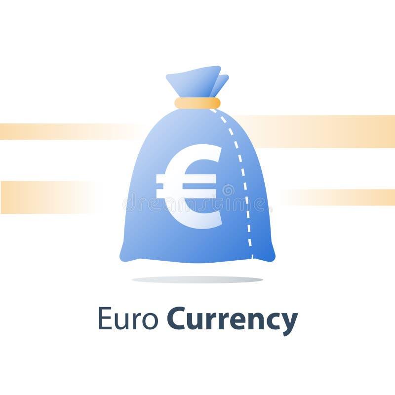Fondo finanziario, sacco dei soldi, euro borsa di valuta, prestito veloce, contanti facili illustrazione vettoriale