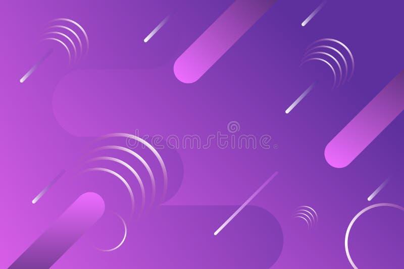 Fondo flúido de la onda de la violeta púrpura y de la pendiente rosada con la caída del meteorito para la página, la bandera, el  ilustración del vector