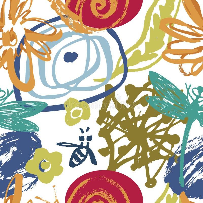Fondo floral abstracto con las abejas, las libélulas y los caracoles ilustración del vector