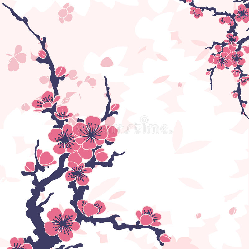 Fondo floral abstracto con sakura stock de ilustración