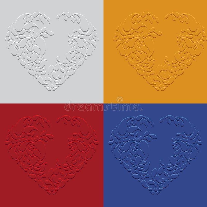 Fondo floral abstracto del corazón Corazón verde estilizado de la ilustración del vector imagen de archivo