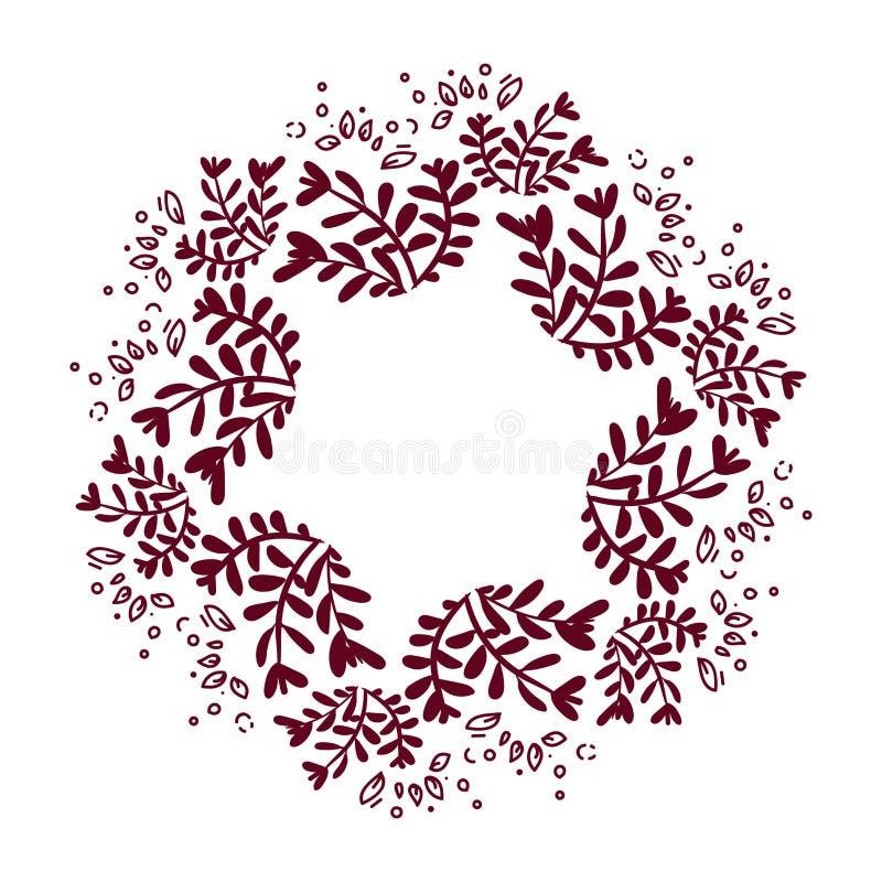 Fondo floral abstracto del vector Ornamento dibujado mano con la guirnalda floral Modelo para la tarjeta de felicitaci?n Fondo co ilustración del vector