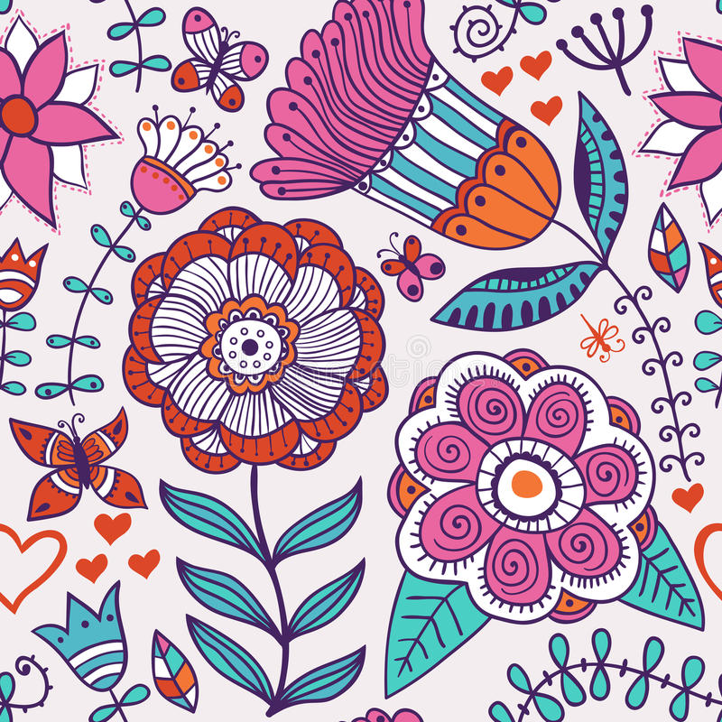 Fondo floral abstracto, modelo inconsútil del tema del verano, vecto ilustración del vector