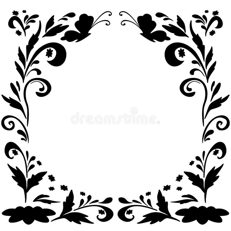 Fondo floral abstracto, siluetas stock de ilustración