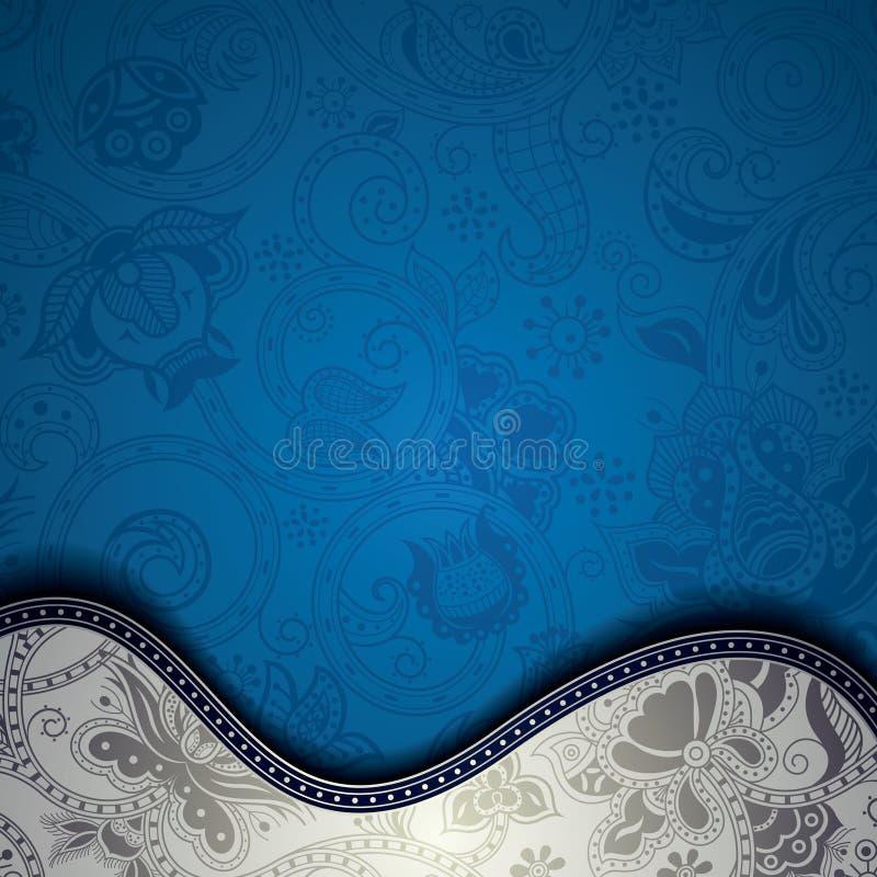 Fondo floral azul abstracto de Cuve ilustración del vector
