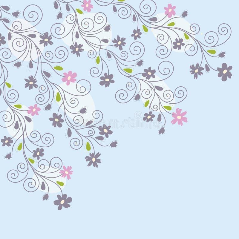 Fondo floral azul claro stock de ilustración
