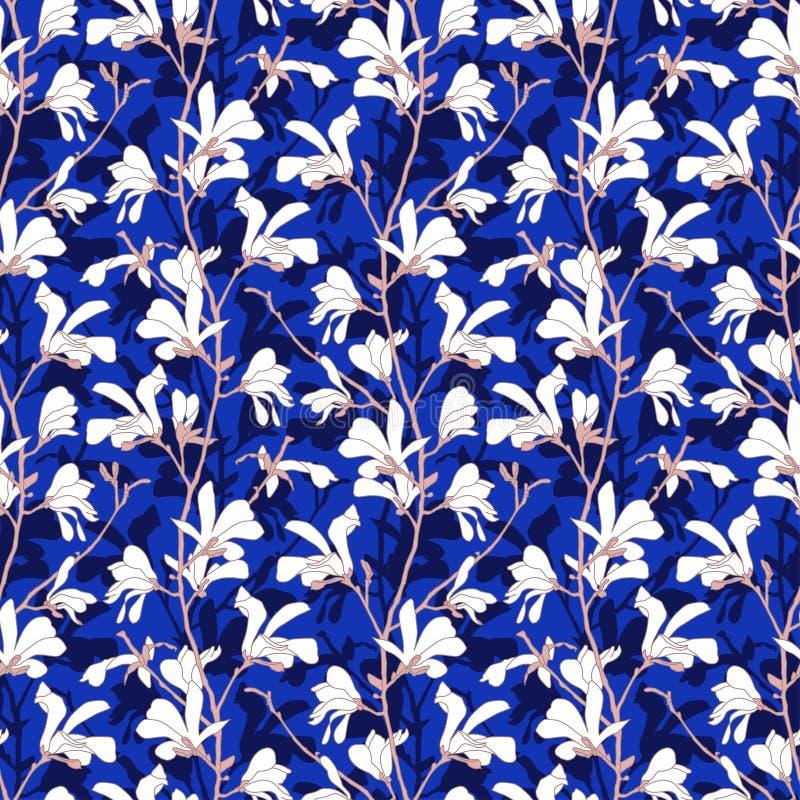 Fondo floral azul con la rama y la flor blanca de la magnolia Modelo incons?til con el flor del ?rbol de la magnolia Dise?o de la ilustración del vector