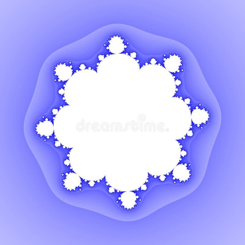 Fondo floral blanco azul del fractal del copo de nieve stock de ilustración