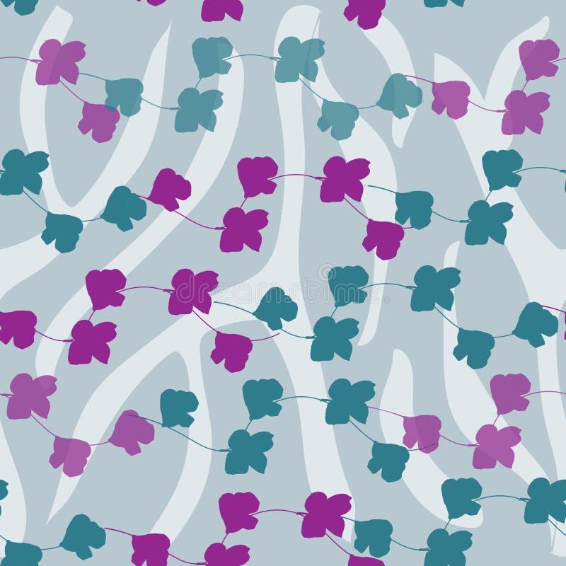 Fondo floral brillante con vector p?rpura de las flores Textura que vuela sin fin para su diseño, tejas y telas stock de ilustración