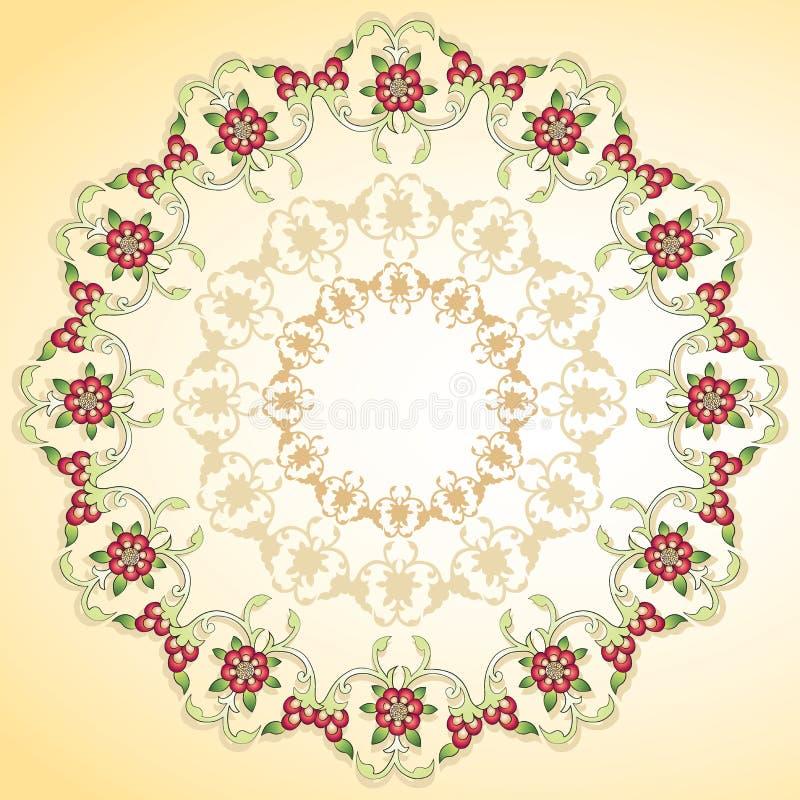 Fondo floral circular stock de ilustración