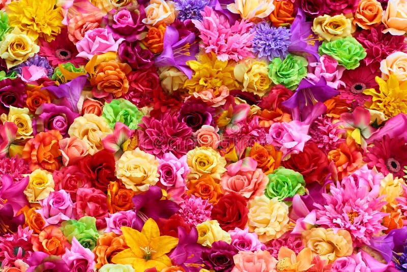 Fondo floral colorido, colores vibrantes de flores artificiales fotografía de archivo
