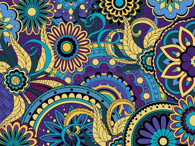 Fondo floral colorido en estilo del boho stock de ilustración