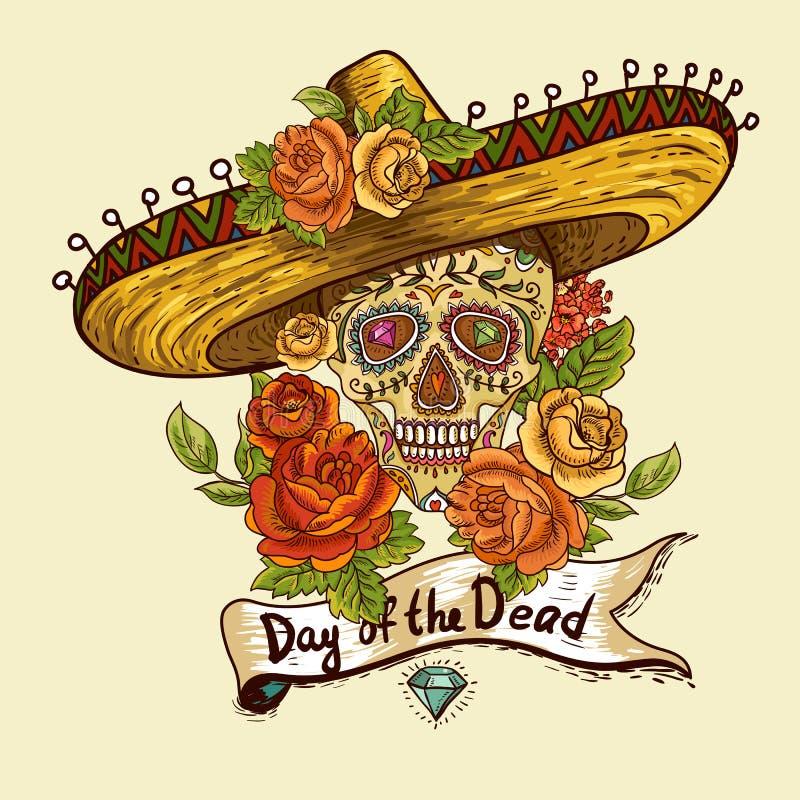 Fondo floral con el cráneo en sombrero stock de ilustración