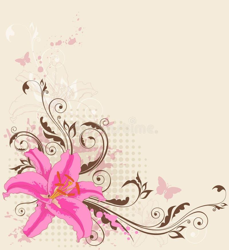 Fondo floral con el lirio rosado libre illustration